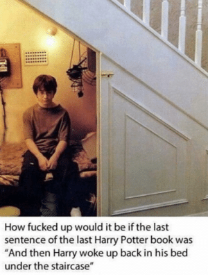 "Harry Potter, Book, and Back: How fucked up would it be if the last  sentence of the last Harry Potter book was  ""And then Harry woke up back in his bed  under the staircase"" Alternate ending of Harry Potter"