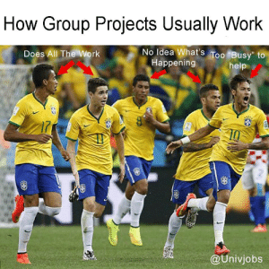"Tumblr, Work, and Help: How Group Projects Usually Work  No Idea What's Too Busy"" to  Does All The Work  Happening  help  i7  @Univjobs Follow us @studentlifeproblems​"