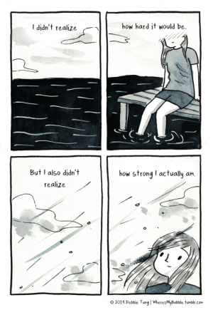 wheresmybubble:  ✨  Books - http://debbietung.com/books: how hard it would be  I didn't realize  But I also didn't  how strong I actually an.  realize  O 2019 Debbie Tung | WheresMyBubble.tumblr.com wheresmybubble:  ✨  Books - http://debbietung.com/books