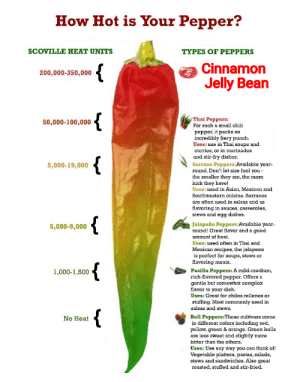They spicy: How Hot is Your Pepper?  SCOVILLE HEAT UNITS  TYPES OF PEPPERS  Cinnamon  200,000-350,000  Jelly Bean  {  Thai Peppers:  For such a small chili  50,000-100,000  pepper, it packs an  incredibly fiery punch.  Uses: use in Thai soups and  curries, or in marinades  and stir-fry dishes.  Serrano Peppers:Available year-  round. Don't let size fool you -  the smaller they are, the more  kick they have!  Uses: used in Asian, Mexican and  Southwestern cuisine. Serranos  5,000-19,000  are often used in salsas and as  flavoring in sauces, casseroles,  stews and egg dishes.  {  Jalapeño Peppers:Available year-  round! Great flavor and a good  5,000-9,000  amount of heat.  Uses: used often in Thai and  Mexican recipes, the jalapeno  is perfect for soups, stews or  flavoring meats.  {  Pasilla Peppers: A mild-medium,  rich-flavored pepper. Offers a  gentle but somewhat complex  flavor to your dish.  1,000-1,500  Uses: Great for chiles rellenos or  stuffing. Most commonly used in  salsas and stews.  {  Bell Peppers:These cultivars come  in different colors including red,  yellow, green & orange. Green bells  are less sweet and slightly more  bitter than the others.  No Heat  Uses: Use any way you can think of!  Vegetable platters, pastas, salads,  stews and sandwiches. Also great  roasted, stuffed and stir-fried. They spicy