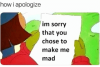Sorry: how i apologize  im sorry  that you  chose to  make me  mad