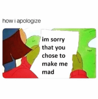 Af, Funny, and Sorry: how i apologize  im sorry  that you  chose to  make me  mad Same af @thankgod_itsfunny 😭