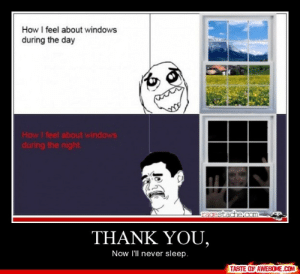 Thank you,http://omg-humor.tumblr.com: How I feel about windows  during the day  How I feel about windows  during the night.  racestache.com-  THANK YOU,  Now I'll never sleep.  TASTE OF AWESOME.COM Thank you,http://omg-humor.tumblr.com