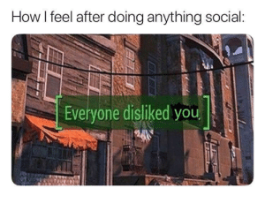 MeIRL, How, and You: How I feel after doing anything social  Everyone disliked you meirl