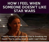 Memes, 🤖, and Star War: HOW I FEEL WHEN  SOMEONE DOESN'T LIKE  STAR WARS  I don't know you anymore! You're breaking my  heart! You're going down a path I can't follow!