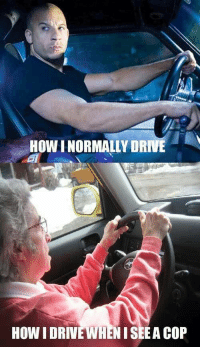 Funny car meme - How I normally drive - http://jokideo.com/funny-car-meme-normally-drive/: HOW I NORMALLY DRIVE  HOW I DRIVE WHENISEEA COP Funny car meme - How I normally drive - http://jokideo.com/funny-car-meme-normally-drive/