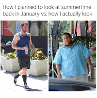 Memes, Pizza, and Kale: How I planned to look at summertime  back in January vs. how I actually look  ST Me in spring having my superfood smoothie with kale & cayenne vs me now finishing a whole pizza by myself and chasing it with a pint of @benandjerrys 😂😂😂 (@thegrilledchez) lmmfao accurate gymmemes dudesbelike smdh imdead childish pettypost funnyaf zerofucksgiven