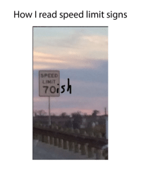 Isk: How I read speed limit signs  SPEED  LIMIT  70i5  isk