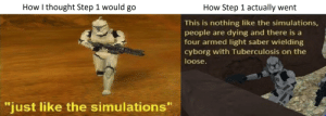"""Trap, It's a Trap, and Thought: How I thought Step 1 would go  How Step 1 actually went  This is nothing like the simulations,  people are dying and there is a  four armed light saber wielding  cyborg with Tuberculosis on the  loose.  just like the simulations"""" Its a trap!"""