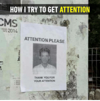 9gag, Dank, and Funny: HOW I TRY TO GET ATTENTION  2014  GRESS  NTS  ATTENTION PLEASE  THANK YOU FOR  YOUR ATTENTION Thanks! Thank you so much.  https://9gag.com/gag/aEBo82o/sc/funny?ref=fbsc
