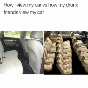 Drunk, Friends, and Funny: How I view my car vs how my drunk  friends view my car No Bryan, we cannot fit 7 in the back