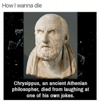 Jokes, Classical Art, and Ancient: How I wanna die  Chrysippus, an ancient Athenian  philosopher, died from laughing at  one of his own jokes. I will