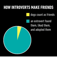 This is so accurate it hurts: HOW INTROVERTS MAKE FRIENDS  dogs count as friends  an extrovert found  them, liked them,  and adopted them This is so accurate it hurts