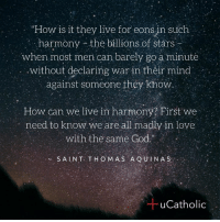 "Catholic, They Live, and Thomas Aquinas: How is it they live for eons in such  harmony the billions of stars-  when most men can barely go a minute  without declaring war in their mind  against someone they know  How can we live in harmony? First we  need to know we are all madly in love  with the  same God.""  S A LNT THOMAS AQUINAS  Catholic"