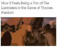 the lannisters: How It Feels Being a Fan of The  Lannisters in the Game of Thrones  Fandom
