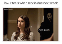 Memes, Cold, and 🤖: How it feels when rent is due next week  @sideofricepilaf  ME  1* OF THE MONTH This rent check's about to slaughter my savings account in cold blood (@sideofricepilaf)