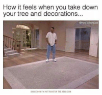 Head, Tree, and How: How it feels when you take down  your tree and decorations..  @How ToBeADad  SHARED ON I'M NOT RIGHT IN THE HEAD.COM