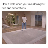 True, Tree, and Hood: How it feels when you take down your  tree and decorations So true.😂💯