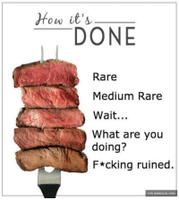 Is Your Steak Done? http://www.damnlol.com/is-your-steak-done-90189.html: How it's  DONE  Rare  Medium Rare  Wait...  What are you  doing?  F*cking ruined.  VIA DAMNLOL.COM Is Your Steak Done? http://www.damnlol.com/is-your-steak-done-90189.html