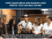 "Music, Target, and youtube.com: HOW JASON MRAZ AND RAINING JANE  WROTE ""YOU CAN RELY ON ME""   IGHT  THEM NOTICING THAT WE'RE WALKING AROUND TOGETHER  PLAYING MUSIC- THEY SURPRISINGLY STUCKWITHUS! <p><b>WEB EXCLUSIVE: </b><a href=""https://www.youtube.com/watch?v=qTRX6EDeb7I&amp;index=126&amp;list=PLykzf464sU98iBX48N5iuHzslodP7Hzci"" target=""_blank"">Jason Mraz and Raining Jane wrote a song while being followed by three goats!</a></p>"