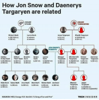 "Fire, Hbo, and Memes: How Jon Snow and Daenerys  Targaryen are related  HOUSE  HOUSE  TARGARYEN  STARK  Lyarra Stark  Rickard Stark  Rhaella Targaryen  Aerys Targaryen  b, 230-249 AC.  unknown  244 AC.  245/246 AC.  dt 282 AJC.  unknown  d: 283 AC  d: 284 AC.  JON SNOW S  PARENTS  Catalyn  Elia (MartelD Visorys Daonorys  Eddard  Brandon  Benjen Lyanna  Rhaeger  CTully Stark Ned Stark Stark  Stark  Stark  Targaryen Targaryen  Targaryen  Targaryen  b 264/265 AC,  203 AC, 262 AC, 267 AC, 266/267 AC.  b. 250/257 Act, b 27s AC.  b, 259 ANC.  d 283AC.  d 290 AC,  d: 299 AC.  d: 282 AC.  d 283 AC d: 283 AC, d: 298 AC.  Robb Stark Sansa Stark  Arya Stark  Bran Stark  Rickon Stark Jon Snow  Rhaenys  Aegon  Targaryen  Targaryen  283 A,C,  b: 286 AMC.  b: 289 A.C.  b 290 AC,  233 AC.  d: 299 AC.  280AC.  b: 281/282 AC.  unknown  d 283 AC,  d: 283 AC, supposedly  TECH INSIDER  SOURCE: HBO: George R.R. Martin's ""A Song of lce and Fire"""