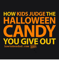 9gag, Candy, and Dad: HOW KIDS JUDGE THE  HALLOWEEN  CANDY  YOU GIVE OUT  howtobeadad.com  DAD Which one are you? 🍬Follow @9gag - - 📸 How to be a dad - - halloween trickortreat