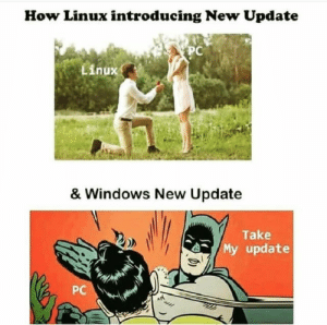 Linux vs Windows update.: How Linux introducing New Update  PC  Linux  & Windows New Update  Take  My update  PC Linux vs Windows update.