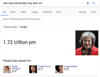 "Donald Trump, Google, and News: how long has theresa may been pm  ll News Videos mages Shopping More  About 105,000,000 results (0.78 seconds)  Theresa May / Height  Settings Tools  1.72 trillion pm  People also search for  Nicola  Sturgeon  5'4""  Donald Trump  6'2""  Angela Merkel  5' 5 <p><a href=""http://tchaikovskaya.tumblr.com/post/161597949132/thank-u-google-thats-exactly-what-i-was-looking"" class=""tumblr_blog"">tchaikovskaya</a>:</p> <blockquote><p>thank u google thats exactly what i was looking for, not how many days she has been the prime minister of the united kingdom, her height in picometers. you can read my mind, google, its uncanny </p></blockquote>"