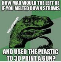 Memes, Mad, and 🤖: HOW MAD WOULD  IFYOU MELTED DOWN STRAWS  AND USED THE PLASTIC  TO 3D PRINT A GUN? 🗣 @militarybadassery