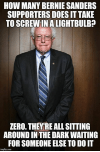 Precisely... unless someone gets off their butt, it's never going to happen. ~ Ginger  Rowdy Conservatives: HOW MANY BERNIE SANDERS  SUPPORTERS DOESITTAKE  TO SCREW IN ALIGHTBULB?  ZERO. THEYRE ALL SITTING  AROUND IN THEDARKWAITING  FOR SOMEONE ELSETO DOIT  imgflip com Precisely... unless someone gets off their butt, it's never going to happen. ~ Ginger  Rowdy Conservatives
