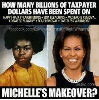 nappy hair: HOW MANY BILLIONS OF TAXPAYER  DOLLARS HAVE BEEN SPENTON  NAPPY HAIR STRAIGHTENING SKIN BLEACHING MUSTACHE REMOVAL  COSMETICSURGERY SCAR REMOVAL TASTELESS WARDROBE  facebook.com/Extremd  sedOffRightWingers  lyPis  zesko.com  MICHELLESMAKEOVER