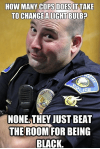 I promise none of us are racist, but racist jokes are funny: HOW MANY COPS DOES IT TAKE  TO CHANGE ALIGHTBULBp  LICE  NONE THEY JUST BEAT  THE ROOM FOR BEING  BLACK. I promise none of us are racist, but racist jokes are funny