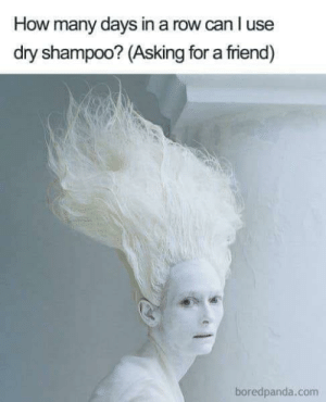 5 days is my max! Lol: How many days in a row can l use  dry shampoo? (Asking for a friend)  boredpanda.conm 5 days is my max! Lol