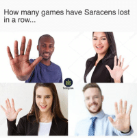Memes, Lost, and Games: How many games have Saracens lost  in a roW.  RUGBY  MEMES  Instagam L L L L L 😂😂 rugby saracens banter