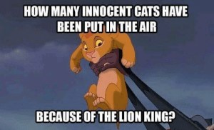 All of them: HOW MANY INNOCENT CATS HAVE  BEEN PUT IN THE AIR  bookcom/ProudDis  BECAUSE OF THE LION KING? All of them