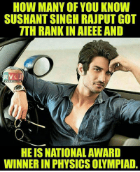 Memes, Rajput, and 🤖: HOW MANY OF YOU KNOW  SUSHANTSINGH RAJPUT GOT  TTH RANK IN AIEEE AND  RV  WWW.RVCU.COM  HE IS NATIONAL AWARD  WINNER IN PHYSICS OLYMPIAD. Did you know? rvcjinsta