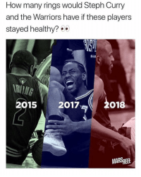 Memes, Nba, and Steph Curry: How many rings would Steph Curry  and the Warriors have if these players  stayed healthy?  RUING  22o18  015 2017  MARSREEL nba is back and I am as well too 🔥