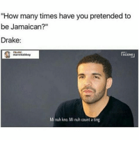 """He's A Habitual Wave Rider 😂😂😂😂😂😂 musichumor hiphophumor pettypost pettyastheycome straightclownin hegotjokes jokesfordays itsjustjokespeople itsfunnytome funnyisfunny randomhumor drake: """"How many times have you pretended to  be Jamaican?""""  Drake:  SCENE  marvinabbey  Mi nuh kno. Mi nuh count a ting. He's A Habitual Wave Rider 😂😂😂😂😂😂 musichumor hiphophumor pettypost pettyastheycome straightclownin hegotjokes jokesfordays itsjustjokespeople itsfunnytome funnyisfunny randomhumor drake"""
