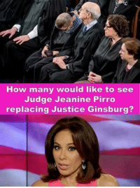 Justice, How, and Judge: How many would like to see  Judge Jeanine Pirro  replacing Justice Ginsburg? Extremely Pissed off RIGHT Wingers 2