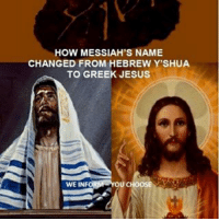 "Memes, Mortal Man, and 🤖: HOW MESSIAH'S NAME  CHANGED FROM HEBREW Y'SHUA  TO GREEK JESUS  OU  CHOOSE  WE INFO HOW MESSIAH'S NAME CHANGED book📖We are not a ministry that push doctrine down somebody's throat. Doing that is OUTRIGHT against God's will as He distinctly says His Spirit will teach you(Joh14:26-Luk12:12). Who is mortal man then TO PLAY GOD & forcefully push doctrines. Our principle is WE INFORM, YOU CHOOSE & wherever possible give more than 1 theory & it is then the Spirit to lead you to the truth. We are mortal men & CANNOT & WILL NOT claim that only we have the truth, in doing that we elevate ourselves to the status of God, & that is blasphemy✔Beloved Christians today ask many questions concerning the Greek name Jesus; where did the name JESUS originate from if it is not His birth name at all? Others say the Name of our Messiah is YESHUA (or a related form) which is the original proper Name for Him from the original Hebrew✔In Hebrew Yeshua means ""YaH (God) is Salvation"" (YaH-shua) while many say the name Jesus has no intrinsic meaning in English whatsoever & therefore this name does not actually proclaim & explain that He came IN His Father's Name–there is NO connection there. The Father's Name is YaH according to Psalm 68:4 & so Yeshua-YaHshua came directly in His Father's Name & there is a direct connection✔Those defending the Name Yeshua say it is a fact that the name JESUS is only approximately 400 YEARS OLD because the English language never had the letter ""J"" till ONLY 400 years ago & use the 1611Old King James Bible to prove their argument which had the name ""Iesus"" in its pages✔This booklet gives you the 2 opposing views & it is left to the Beloved Christian to decide which Name is the the correct one. (Size A5) (PDF Download)✔ hebrew shalom churchflow prophets bible jesuschrist jesussaves christianity holyspirit israelites yeshua israel pictures christ jesusislord jesuslovesyou jerusalem messianic church holybible bibleverse jesus verseoftheday scripture christian wordofgod yeshuahamashiach revival tenlosttribes instagram"