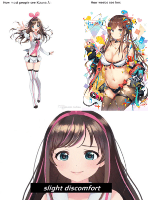 Anime, Love, and How: How most people  How weebs see her:  see Kizuna Ai:  KINAA1  VTL  D.HOate.com  tolina  slight discomfort  KIZUNA AT Don't even try to deny it.We love this.