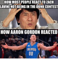How did you guys react? 🤔 nbamemes nba_memes_24: HOW MOST PEOPLE REACTNTO ZACH  LAVINE  BEING IN THE DUNKCONTEST  HOW AARON GORDON REACTED  Onba memes 24  ORLANDO How did you guys react? 🤔 nbamemes nba_memes_24