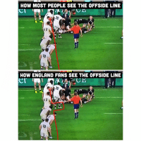 England, Japan, and Match: HOW MOST PEOPLE SEE THE OFFSIDE LINE  10  HOW ENGLAND FANS SEE THE OFFSIDE LINE  er  10 We're already looking forward to the inevitable controversial finish in the England v Japan match next weekend. Can't wait 😉🏴󠁧󠁢󠁥󠁮󠁧󠁿🥀 rugby england allblacks