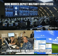 Computer Meme: HOW MOVIES DEPICTMILITARY COMPUTERS  Memes, gom  COMPUTERS THE MILITARY ACTUALIVUSE  funny,ce
