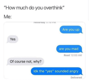 "Angry, Mad, and MeIRL: ""How much do you overthink""  Me:  resterday TeU PM  Are you up  Yes  are you mad  Read 12:00 AM  Of course not, why?  Idk the ""yes"" sounded angry  Delivered meirl"