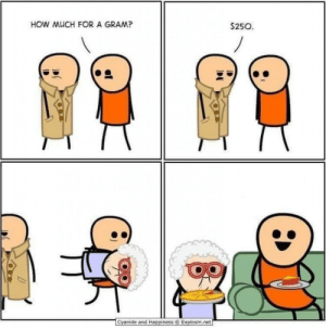 srsfunny:How much for a gram?: HOW MUCH FOR A GRAM?  $250  1  Cyanide and Happiness ⓒ Explosm.ret srsfunny:How much for a gram?