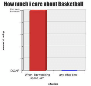 laughoutloud-club:  This Is Relevant: How much i care about Basketball  Fuck Yeah  Basketbalt  IDGAF  When I'm watching  space Jam  any other time  situation laughoutloud-club:  This Is Relevant