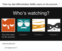 "parasitism: ""How my dad differentiates Netflix users on his account...""  Who's watching?  Parasite 3  Parasite 2  Guy who pays  Parasite 1  for the account  tastefully offensive  (via flagsoccer21)"
