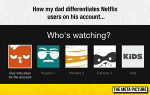 srsfunny:  Netflix Users: How my dad differentiates Netflix  users on his account.  Who's watching?  KİDS  Kids  Guy who pays  for the account  Parasite 1  Parasite 2  Parasite 3  THE META PICTURE srsfunny:  Netflix Users
