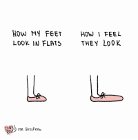 Flipper feet (by @pinks_and_roses): HOW MY FEETHOW FEEL  LOOK IN FLATS THEY LoOK  gp FOR BuzzFEED  OSE Flipper feet (by @pinks_and_roses)